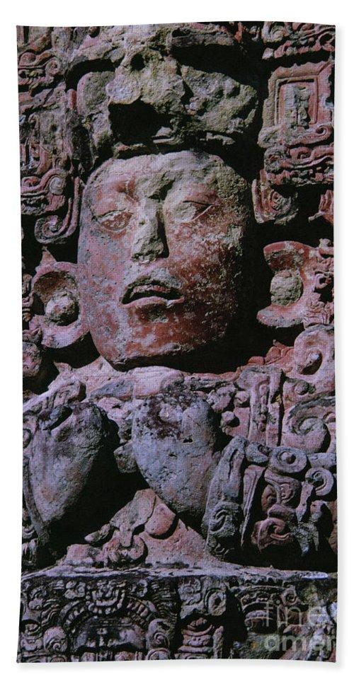 Mayan Hand Towel featuring the photograph Mayan Stele In Grand Plaza, Copan, Honduras, Central America by Mayan