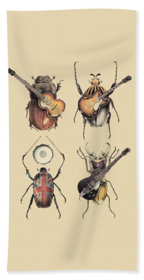 Beatles Bath Towel featuring the digital art Meet the Beetles by Eric Fan