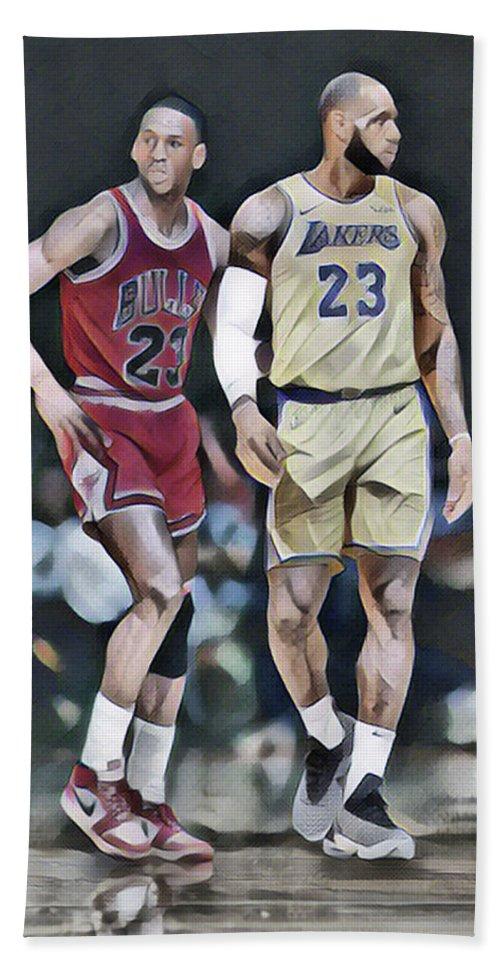 8c45079c1f1 Michael Jordan Vs Lebron James Abstract Art 1 Bath Towel for Sale by Joe  Hamilton