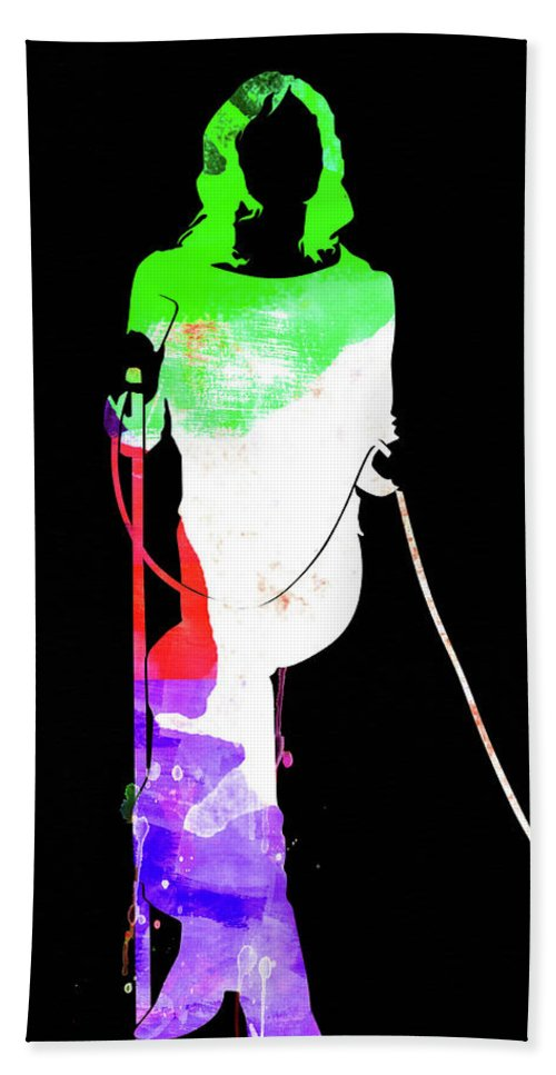 Mick Jagger Hand Towel featuring the mixed media Mick Watercolor II by Naxart Studio