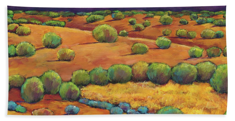 Contemporary Southwest Bath Towel featuring the painting Midnight Sagebrush by Johnathan Harris