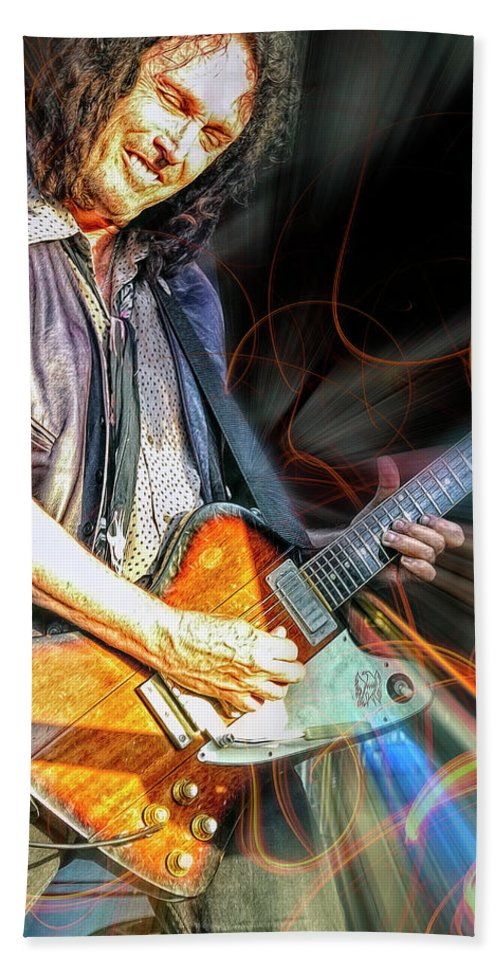 Mike Campbell Hand Towel featuring the mixed media Mike Campbell by Mal Bray
