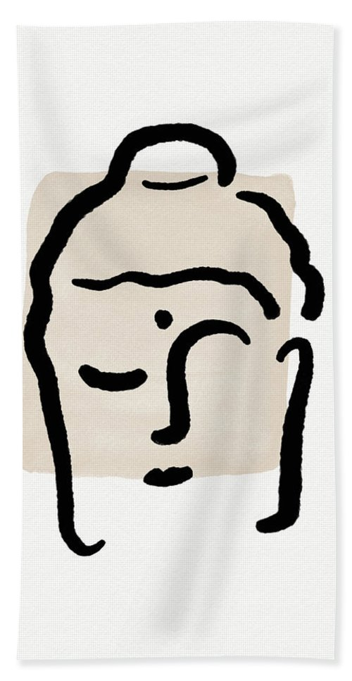 Minimal Hand Towel featuring the mixed media Minimal Buddha 4- Art By Linda Woods by Linda Woods