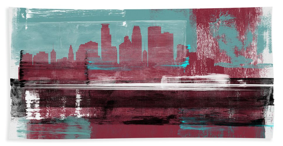 Minneapolis Hand Towel featuring the mixed media Minneapolis Abstract Skyline II by Naxart Studio