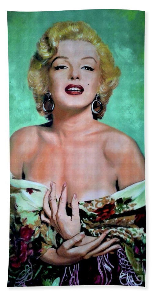 Woman Bath Sheet featuring the painting M.Monroe 4 by Jose Manuel Abraham