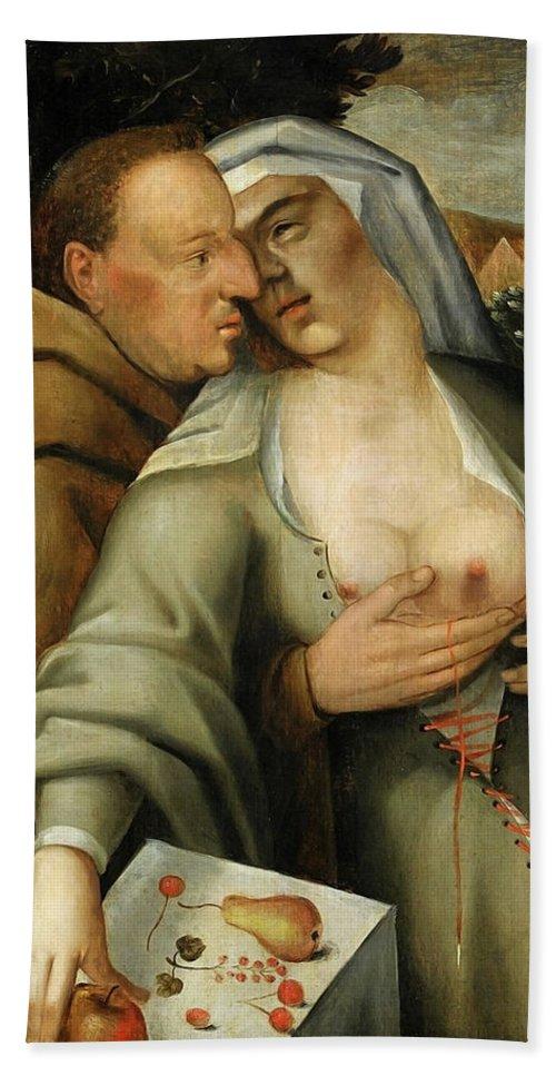 Cornelis Van Haarlem Bath Towel featuring the painting Monk and nun embrace each other by Cornelis van Haarlem