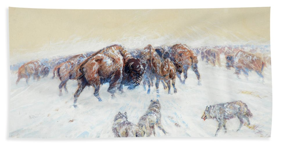 Charles M Russell Bath Towel featuring the painting Montana Winter, 1905 by Charles M Russell