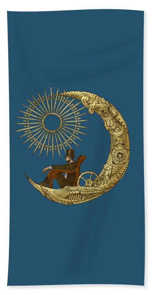 Blue Bath Towel featuring the digital art Moon Travel by Eric Fan