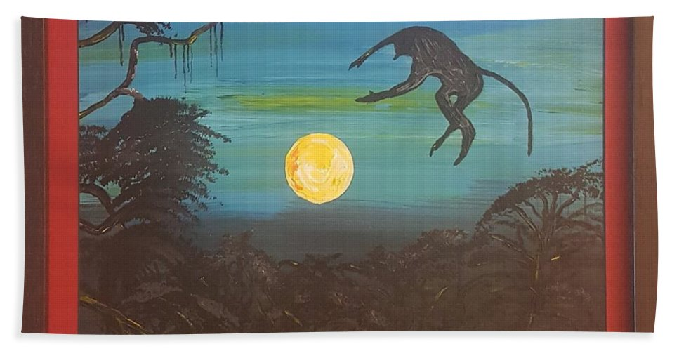 Moonlight Baboon Bath Towel featuring the photograph Moonlight Baboon by Quintus Curtius