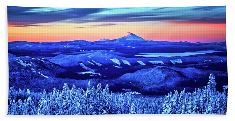 Winter Hand Towel featuring the photograph Morning From Timberline Lodge by Bruce Block
