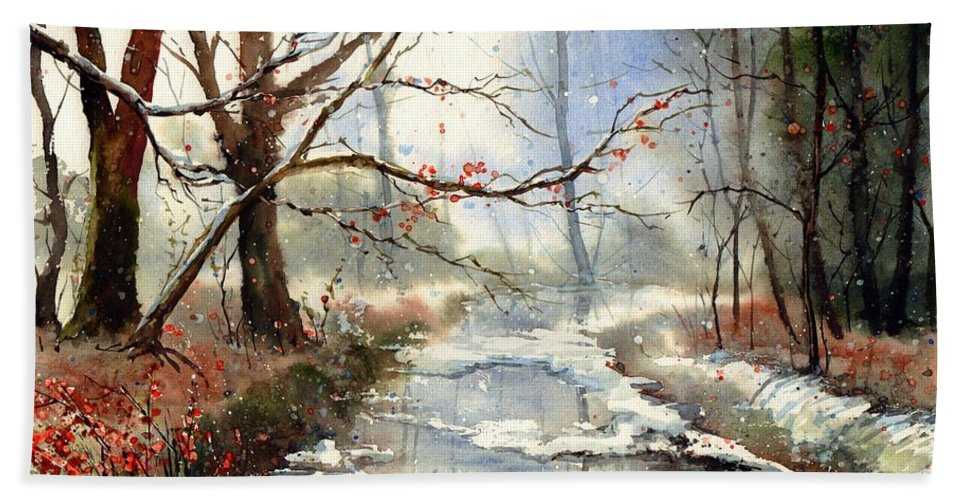 Mystery Bath Towel featuring the painting Morning Haze by Suzann Sines