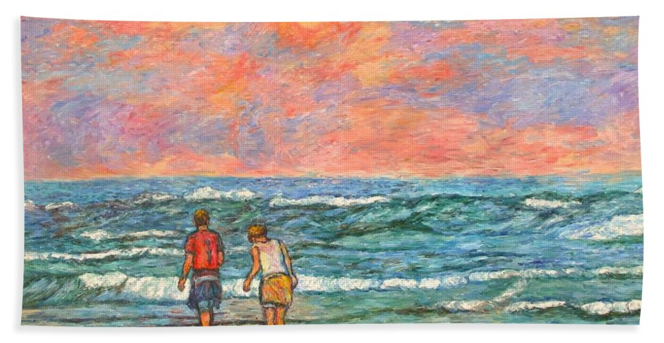 Isle Of Palms Bath Towel featuring the painting Morning Stroll At Isle Of Palms by Kendall Kessler