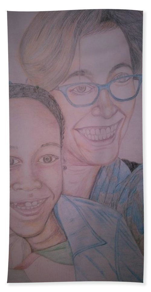 Drawing Bath Towel featuring the drawing Mother and Daughter by Andrew Johnson