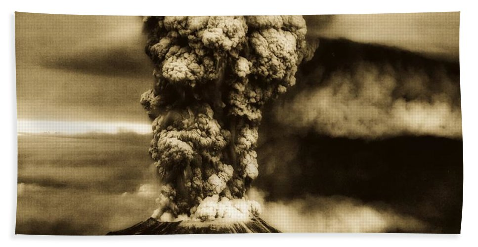 Mount St. Helens Bath Towel featuring the photograph Mount St Helens Eruption 1980 by U S G S
