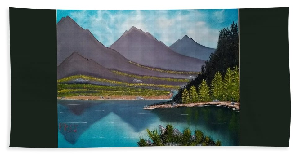Mountain Bath Sheet featuring the painting Mountain Reflections by Rodger Saunders
