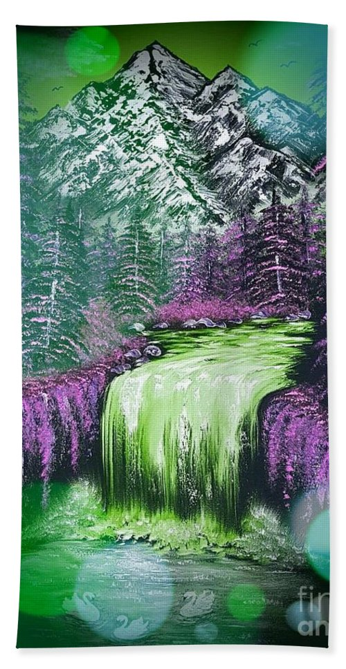 Green Hand Towel featuring the painting Mountain Views So Beautiful Green Stardust Dark by Angela Whitehouse