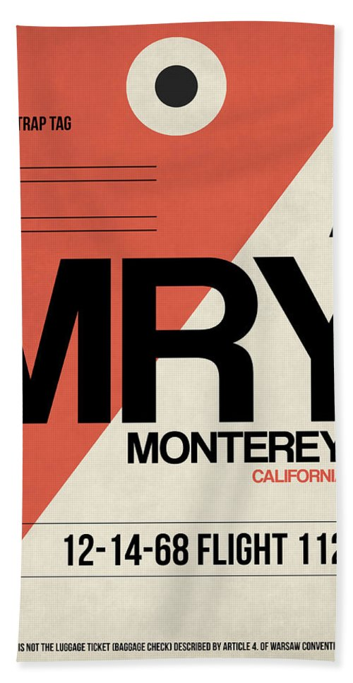 Monterey Bath Towel featuring the digital art Mry Monterey Luggage Tag I by Naxart Studio