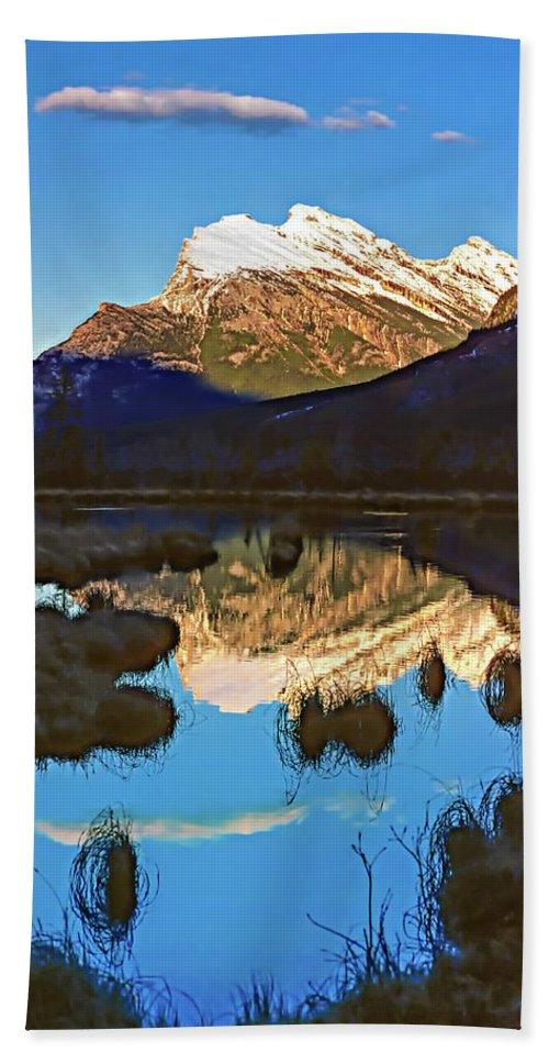 Mountains Bath Sheet featuring the photograph Mt Rundle by Steve Harrington