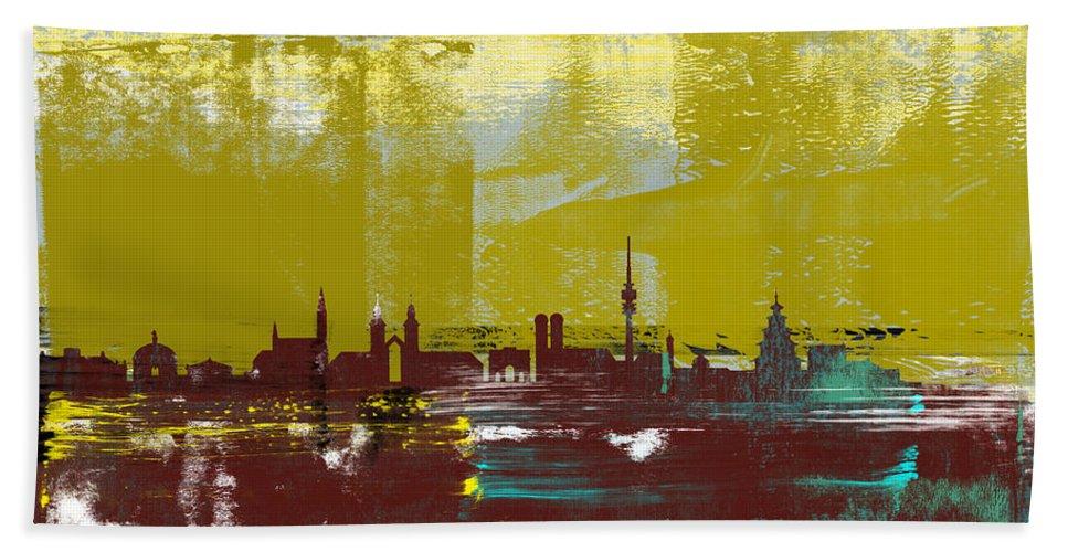 Munich Hand Towel featuring the mixed media Munich Abstract Skyline II by Naxart Studio