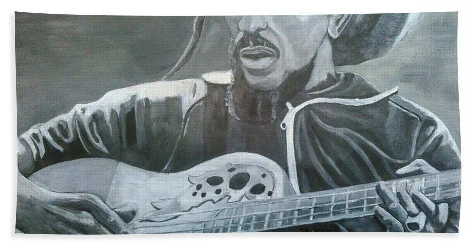 Bob Marley Painting Bath Towel featuring the painting Musical Man by Andrew Johnson