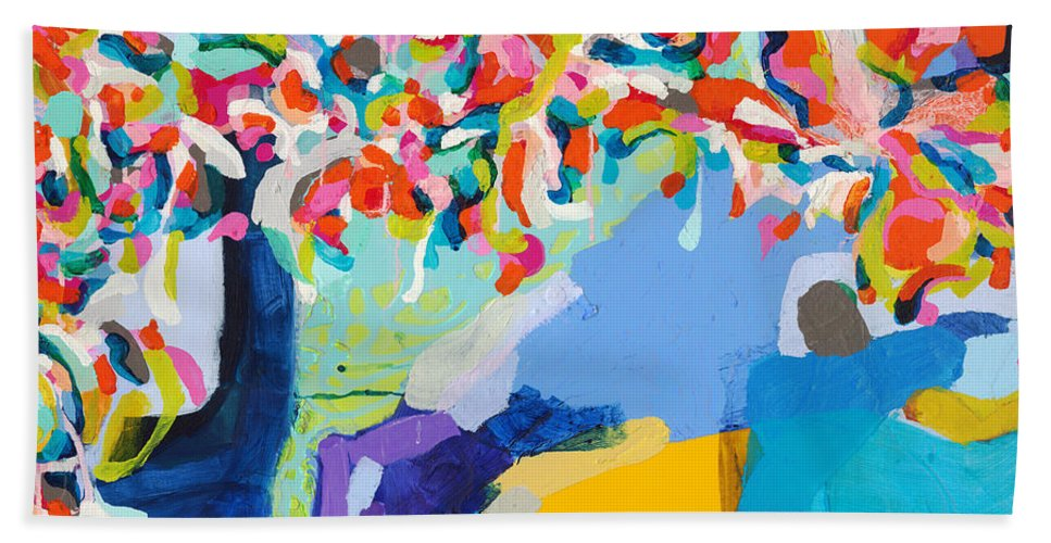 Abstract Hand Towel featuring the painting My Vanity by Claire Desjardins