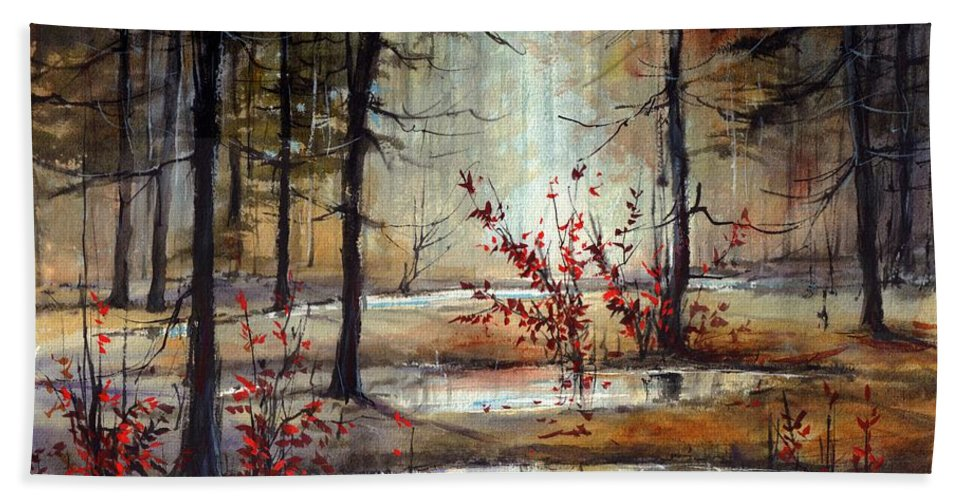Wild Hand Towel featuring the painting Mystic Forest by Suzann Sines