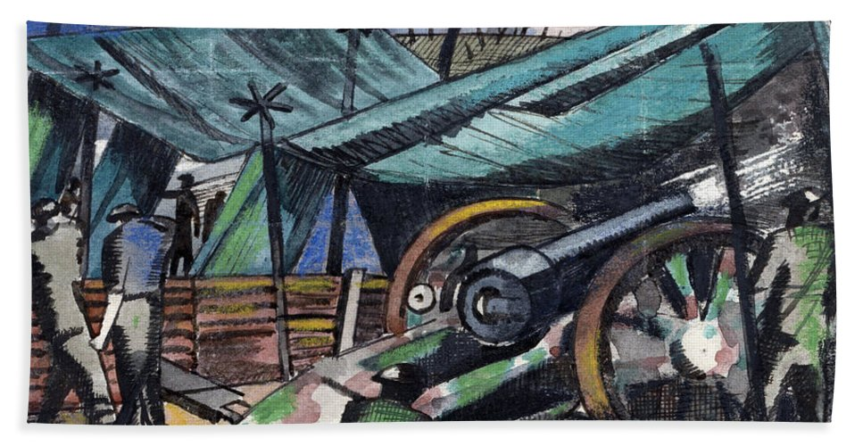 B1019 Bath Towel featuring the painting A Howitzer Firing, 1918 by Paul Nash