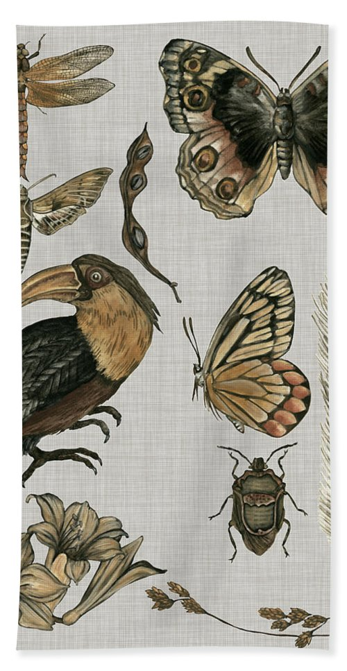 Animals Hand Towel featuring the painting Nature Studies I by Melissa Wang