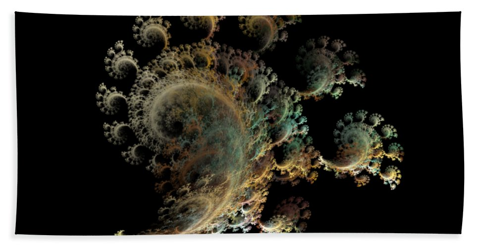 Fractal Hand Towel featuring the digital art Nautical Symbols Spiraling Finger Corals by Betsy Knapp