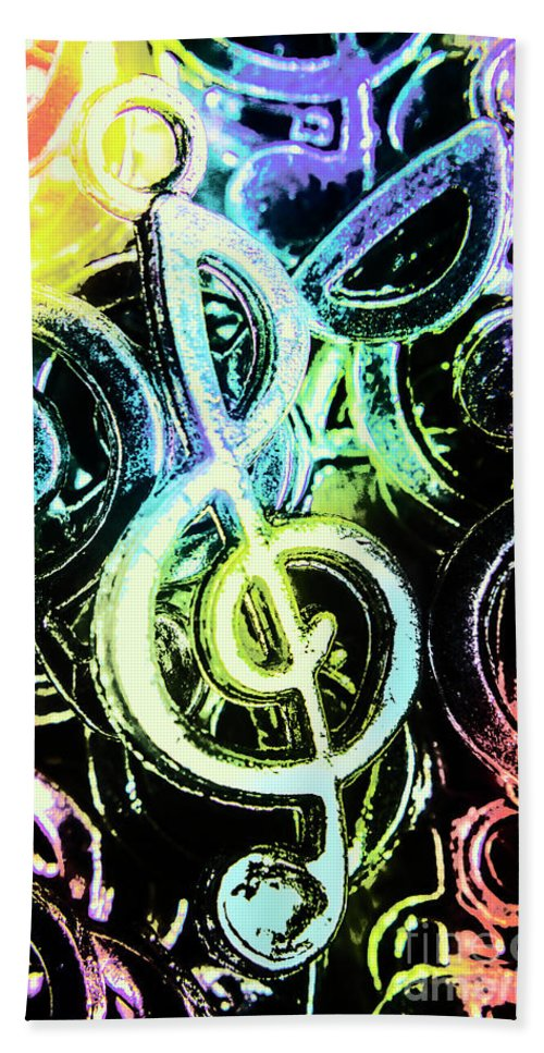Funky Bath Towel featuring the photograph Neon Notes by Jorgo Photography - Wall Art Gallery