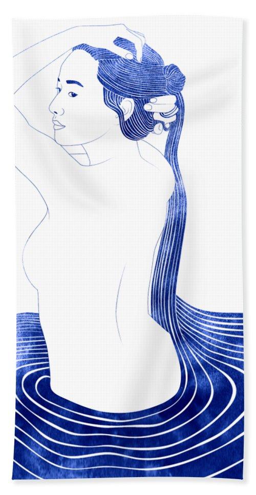 Bath Towel featuring the mixed media Nesaie by Stevyn Llewellyn