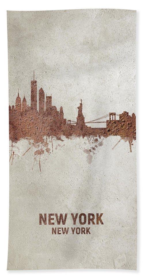 New York Hand Towel featuring the digital art New York Rust Skyline by Michael Tompsett