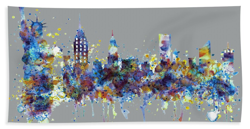 New York Hand Towel featuring the painting New York Watercolor Skyline by Marian Voicu