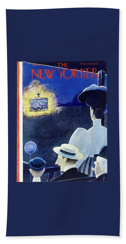 Illustration Bath Sheet featuring the painting New Yorker July 6 1946 by Rea Irvin