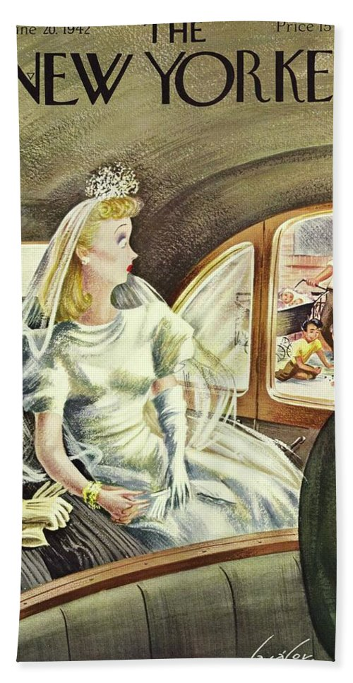 Illustration Bath Sheet featuring the painting New Yorker June 20th 1942 by Constantin Alajalov