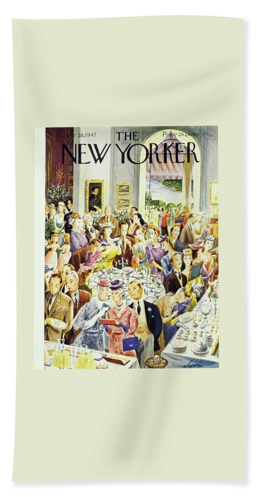 Illustration Bath Sheet featuring the painting New Yorker June 28th 1947 by Constantin Alajalov