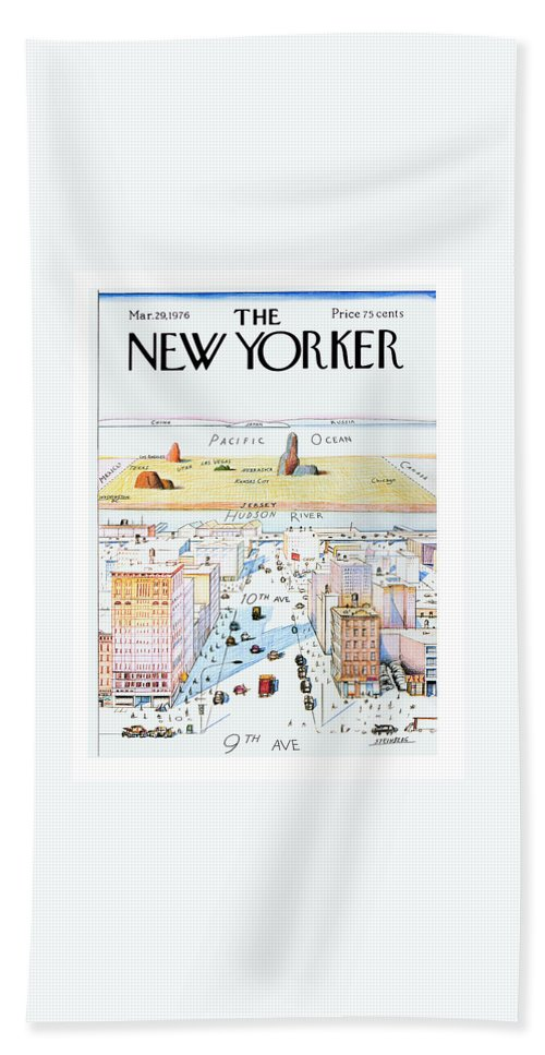 #condenastnewyorkercover Bath Sheet featuring the painting New Yorker March 29, 1976 by Saul Steinberg