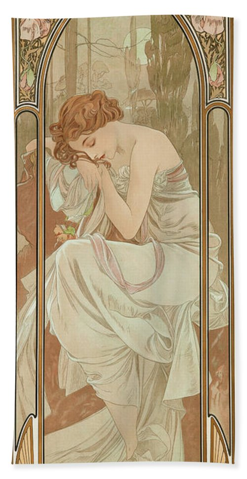 Alfons Mucha Bath Towel featuring the painting Night's Rest, 1899 by Alfons Mucha
