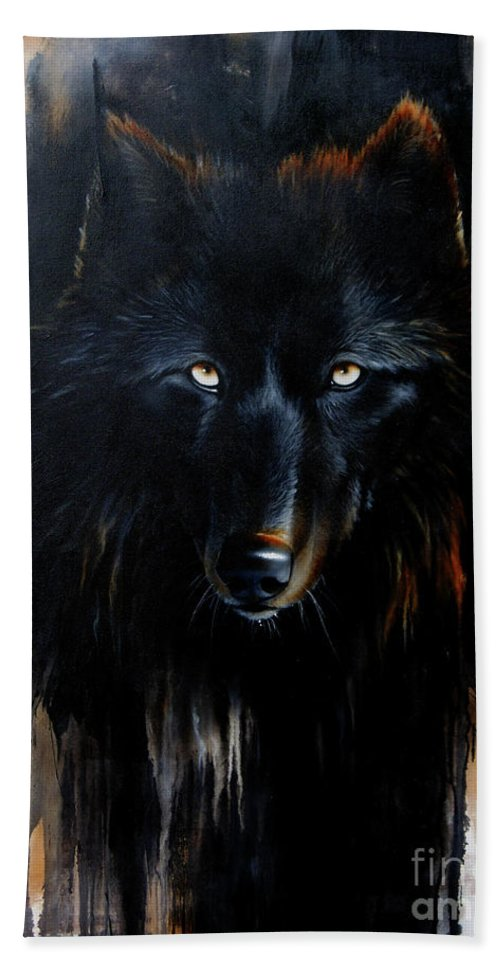 Wolf Hand Towel featuring the painting Noir by Sandi Baker