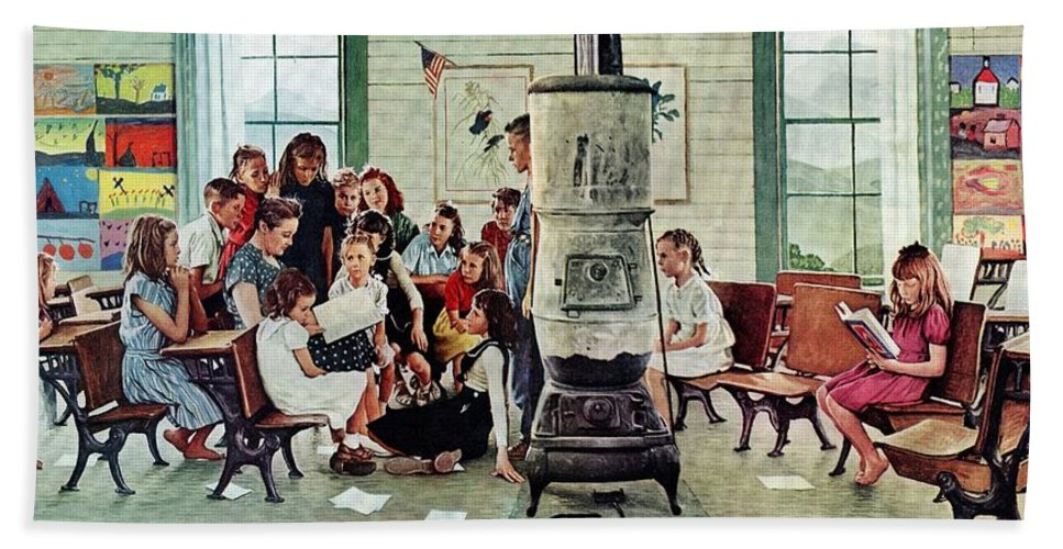 Book Bath Towel featuring the drawing Norman Rockwell Visits A Country School by Norman Rockwell