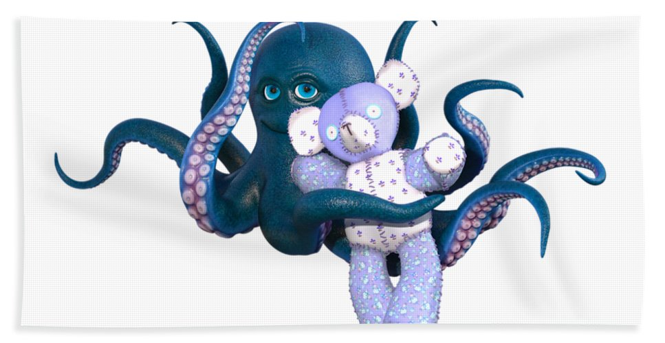 Octopus Hand Towel featuring the digital art Octopus And Purple Bear by Betsy Knapp