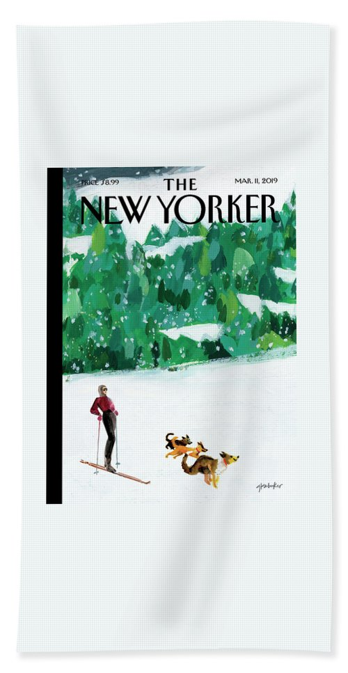 Skiing Bath Sheet featuring the painting Off The Path by Gayle Kabaker