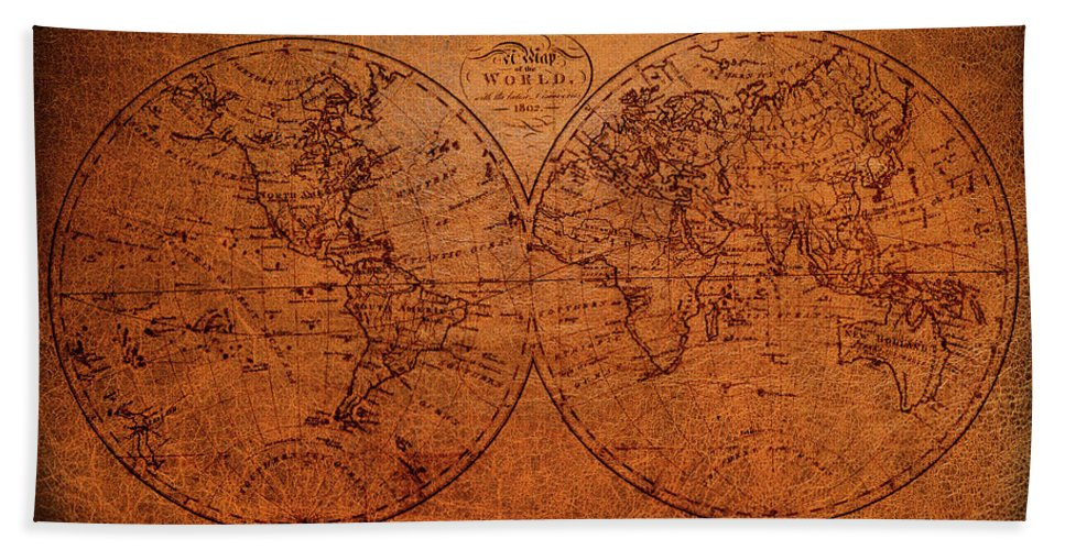 Old World Map Bath Towel featuring the mixed media Old World Map by Trevor Slauenwhite