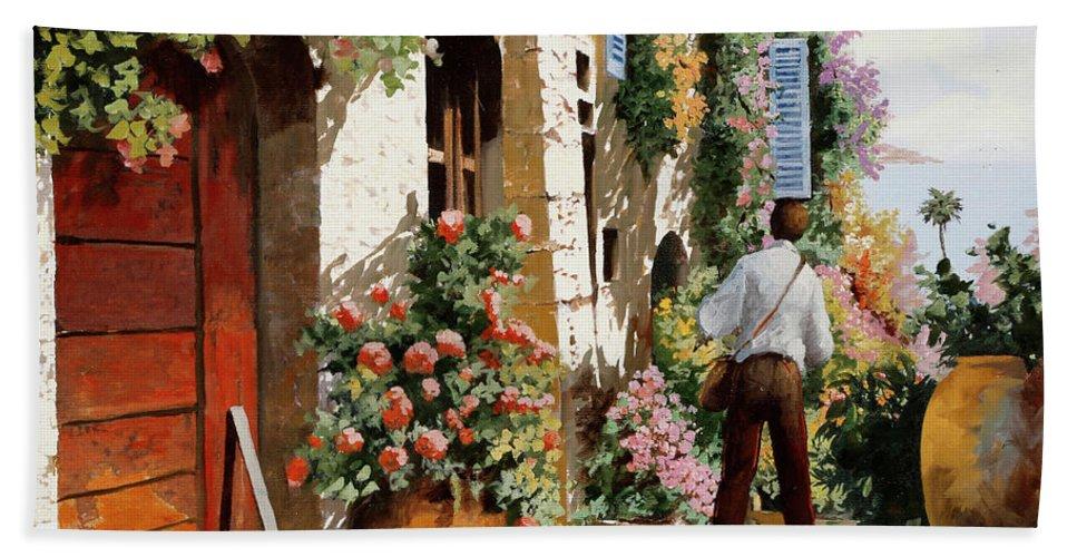 Bella Strada Hand Towel featuring the painting Omino Sulla Bella Strada by Guido Borelli