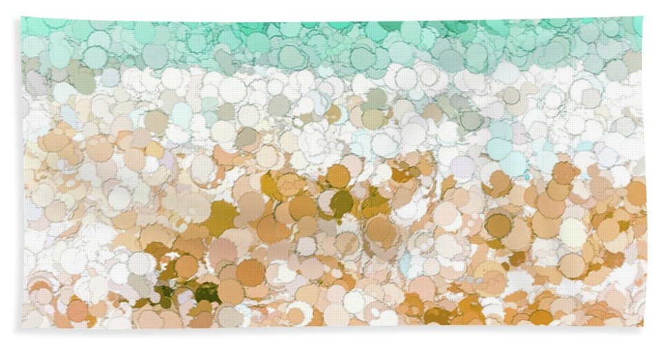 Scenic Bath Sheet featuring the painting On The Beach Abstract Painting by Andrea Anderegg