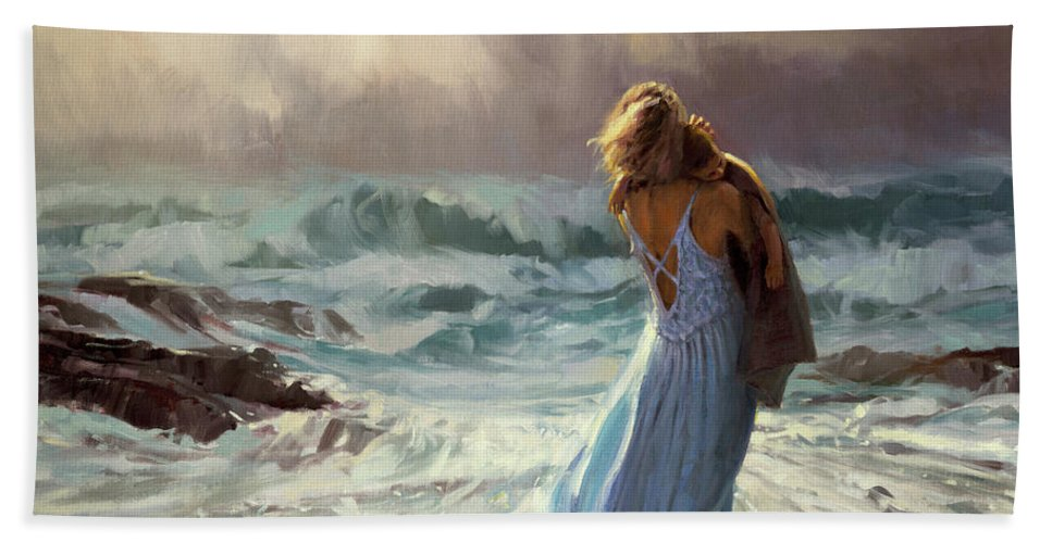 Ocean Bath Towel featuring the painting On Watch by Steve Henderson
