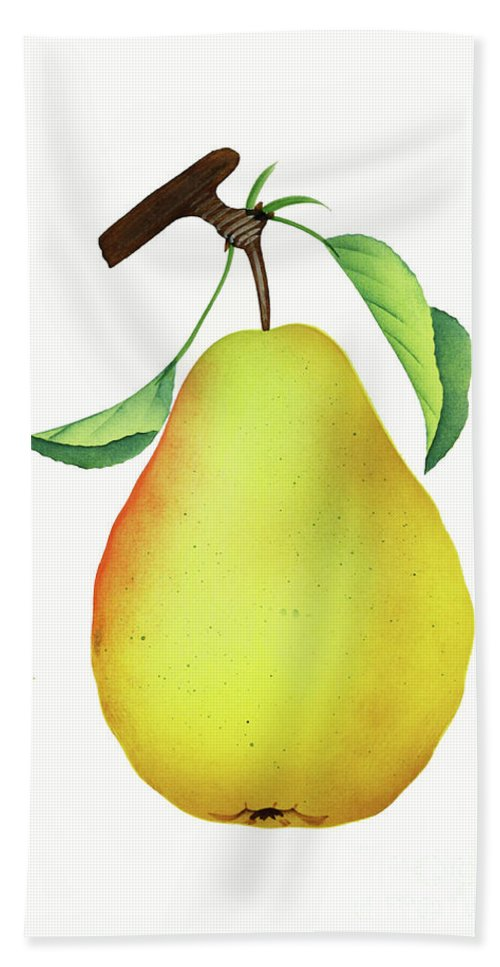 Pear Hand Towel featuring the digital art One Yellow Juicy Pear by Nikki Vig