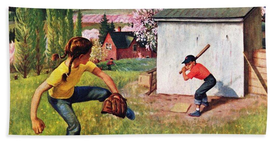 Baseball Bath Towel featuring the drawing Oregon Baseball by John Clymer