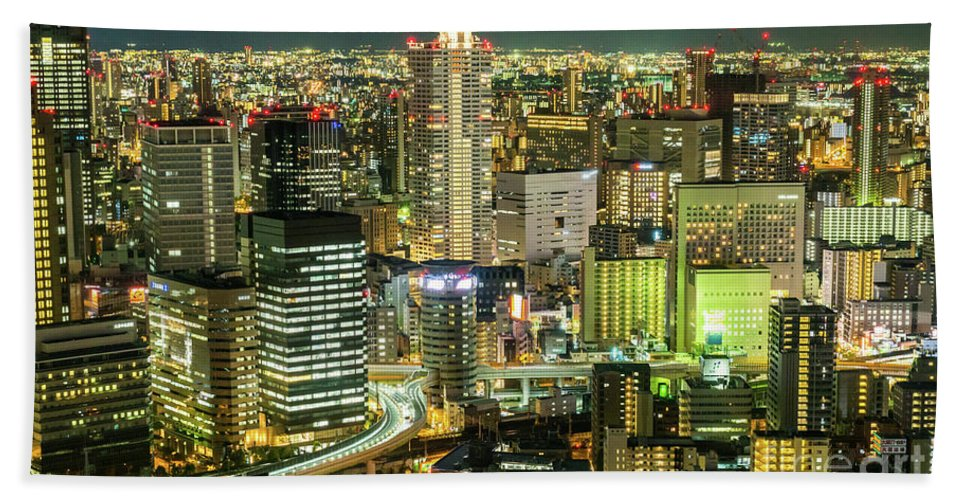 City Bath Towel featuring the photograph Osaka Skyline, Japan by Fototrav Print