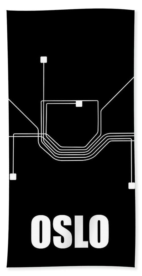 Oslo Hand Towel featuring the digital art Oslo Black Subway Map by Naxart Studio